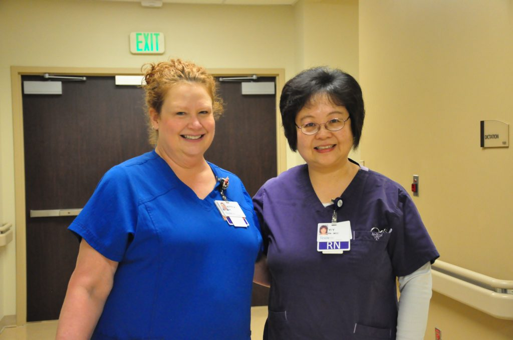 The two nursing excellence award winners standing side by side